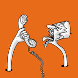 Communication. Man screaming in the phone illustration Royalty Free Stock Images