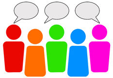 Communication. In a social network (copy space provided inside text balloons Stock Photo