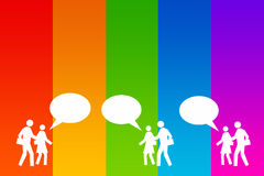 Communication. Between people in rainbow colors Royalty Free Stock Images