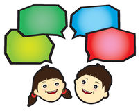 Communication. Between the sexes with speech bubble with own area for text royalty free illustration