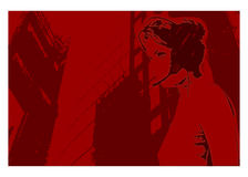Communication. Red composition with a woman silhouette answering a call, perspective vector illustration