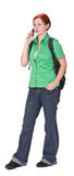 Communication. Young teenage girl talking on a mobile phone royalty free stock photo