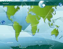 Communication. Abstract world map background with arrows and waves Stock Illustration