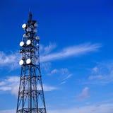 Communication. Telecommunication mast with blue sky background stock image