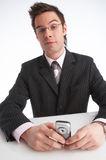 Communication. Businessman with mobile phone in  his hands Stock Photography