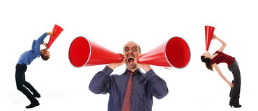Communication. Business team holding a red megaphone on emotions Stock Photo
