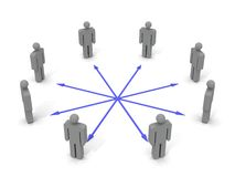 Communication. Symbolic 3d picture of people in a circle connected by arrows Stock Image
