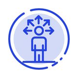 Communication, Abilities, Connection, Human Blue Dotted Line Line Icon stock illustration