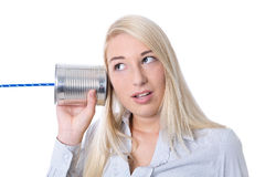 Communication or advertising concept: young isolated woman calli Stock Photo