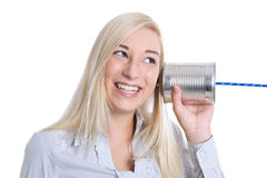 Communication or advertising concept: young smiling isolated wom Stock Photo