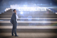 Communication against steps against blue sky Stock Photography