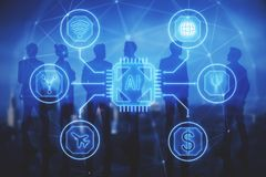 Communication, ai and future concept. Abstract business interface with businesspeople silhouettes on blurry night city background. Communication, ai and future stock photo