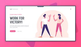 Free Communication And Agreement Website Landing Page. Satisfied Man And Woman Gesturing Ok Sign And Thumb Up Stock Photos - 164208983
