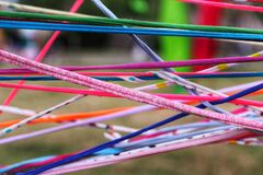 Free Communication And Network Concept. Everyone Is Connected Represented By Colorful Strips Of Fabric Intertwined Stock Photos - 186331803
