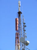 Communication antenna. And repeaters with blue sky royalty free stock photos