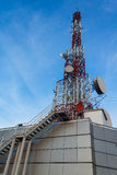 Communication Antenna tower. Against a lovely blue sky and clouds Royalty Free Stock Photos