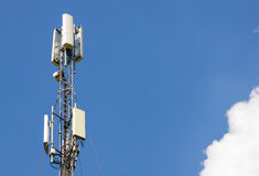 Communication antenna tower with blue sky,Telecoms technology. Royalty Free Stock Images