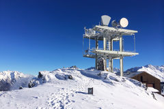 Communication antenna tower in the high mountains Stock Photos