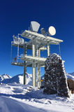 Communication antenna tower in the high mountains Stock Photography