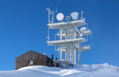 Communication antenna tower in the high mountains Royalty Free Stock Photography