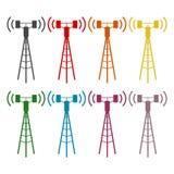 Communication antenna tower icons set. Communication antenna tower icon,  icon Royalty Free Stock Photography
