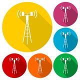 Communication antenna tower icons set with long shadow Stock Photos
