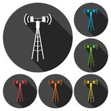 Communication antenna tower icons set with long shadow Stock Photography