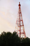 Communication antenna tower with the sky Stock Photo