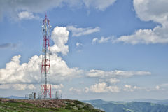 Communication Antenna Tower. Is, typically, tall structures designed to support antennas for telecommunications and broadcasting, including television stock photography