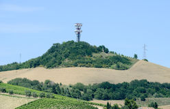 Communication antennas built in rural area of Marche Stock Photography