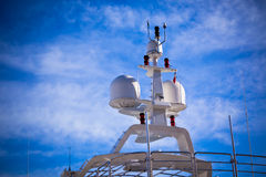 Communication antennas on a luxury yacht Stock Images