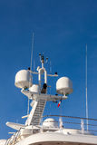 Communication antennas on a luxury yacht Royalty Free Stock Images