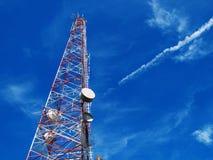Communication antennas, radio telephone. Mobile phone antennas on blue sky Stock Photography