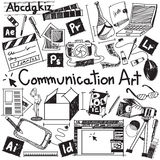 Communication art media university faculty major doodle sign. And symbol icon tool in white isolated background paper used for college education and document Stock Image