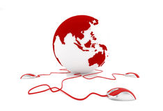 Communication in Asia. Three mouses connected to a globe that shows Asia and Australia. Sign telecommunications between Asian countries Stock Photography