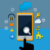 Communication. Bachground with finger and phone and symbols web Stock Photography