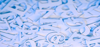 Communication background. Abstract communication background with focus on email sign Royalty Free Stock Images