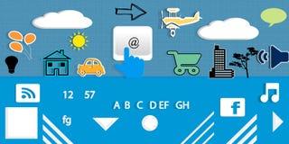 Communication. Background with symbols web and keyboard Stock Photos