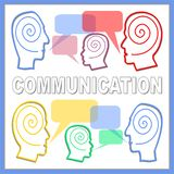 Communication banner with people heads line silhouettes and speech bubbles. Colored drawing on white background. Multicoloured callout boxes. Graphics for stock illustration