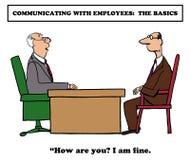 Communication Basics. Business cartoon about explaining the basics of communication to employees Stock Photos