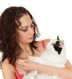 Communication beautiful girl with a favorite cat. Royalty Free Stock Photography