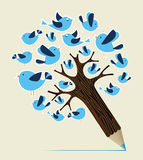 Communication birds concept pencil tree Stock Photos