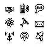 Communication black contour web icons V2 Stock Photo