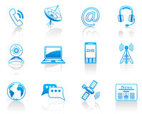 Communication blue icon set Stock Image