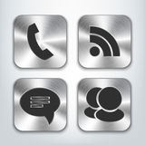 Communication brushed metal app icons. Vector illustration Royalty Free Stock Photo