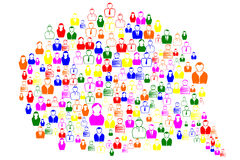 Communication bubble. Lots of people of different colors and professions forming a speech bubble Royalty Free Stock Photos