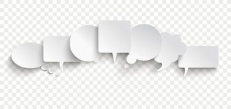 White Paper Speech Bubble Communication Bubbles Banner Transpare. Communication bubbles on the checked background royalty free illustration