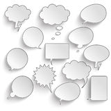Communication Bubbles Set. Speech bubbles with shadwos set on the gray background vector illustration