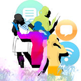 Communication -business. Abstract Background  with  girls to the job Royalty Free Stock Images