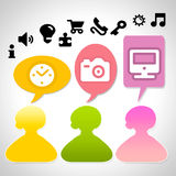 Communication -business. Background with  people and symbols web Royalty Free Stock Photography